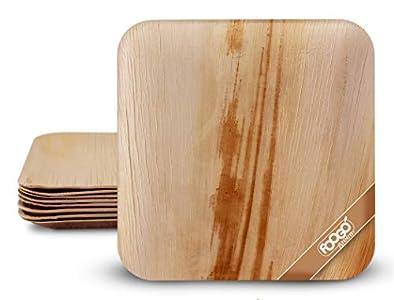 FOOGO Green 25 Platos de hoja de palma Desechable|25cm Grande Cuadrado Duro| Vajilla Ecológico Biodegradable|Como platos de bambu, Platos de plástico, Platos de papel|Para la Fiesta de Bodas,Camping