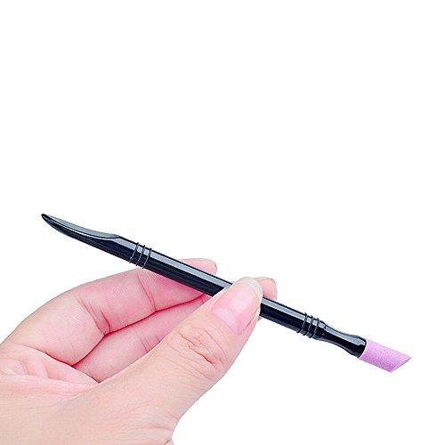 Bâton de poussoir de cuticule d'ongle d'art, Sunenjoy 2 manières d'ongle d'art de bâton de presse d'autocollant, bâton en plastique de cuticule d'ongle Hangnail Peaux de nettoyage de peau morte de surface manucure outils de pédicurie (1 pc)