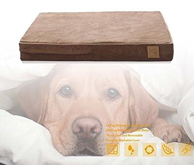 LaiFug Extra Large Espuma ortopédica con memoria para mascotas / cama para perros, 128ⅹ92ⅹ24, chocolate, con forro resistente al agua duradero y funda extraíble lavable