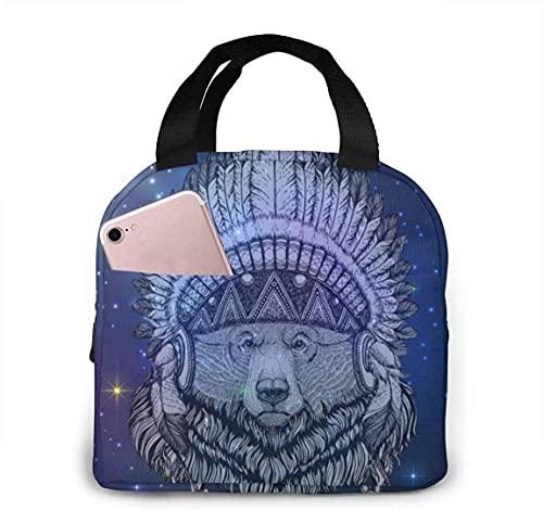 Bolsa de almuerzo portátil con aislamiento térmico de Native Bear con cierre de cremallera, caja de refrigerador reutilizable para adultos