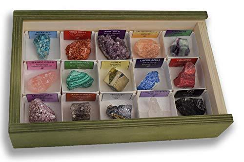 Colección de 15 Minerales del Mundo en Caja de Madera Natural - Minerales Reales educativos con Etiqueta informativa a Color. Kit de Ciencia de Geología para niños.