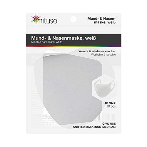 mituso Mund- und Nasenmaske, weiß, aus Polyester, Wiederverwendbare Maske (10 Stück)