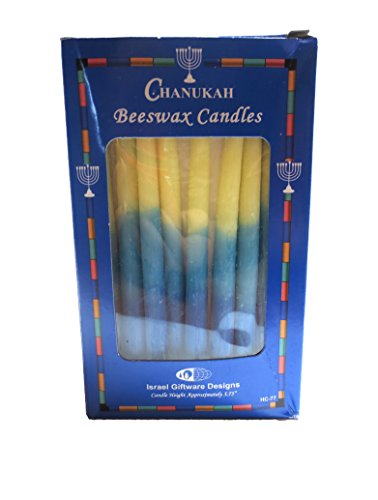 Hanukkah Beeswax Candles Blue and White