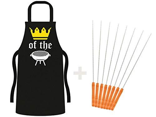 Alsino Grillschürze mit Grillbesteck - Grill-Schürze schwarz mit Spruch - 3-teiliges Grillzubehör, King of The Grill