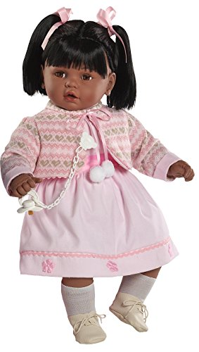 Berbesa - Baby dulzona Negrita llorona, muñeca con Vestido Rosa (80261N)