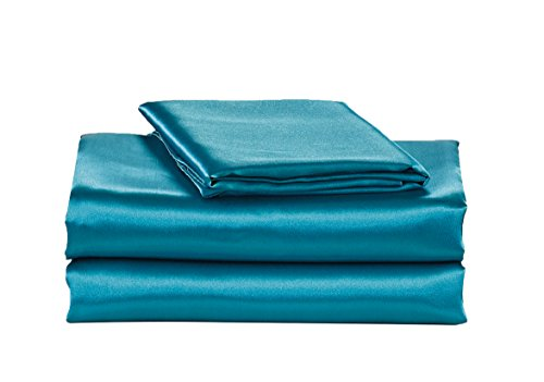 EliteHomeProducts EHP Super Soft and Silky Satin Sheet Set (Solid/Deep Pocket) (Queen, Teal)