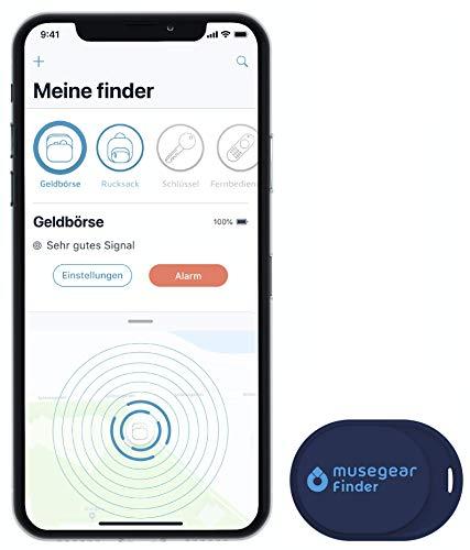 musegear Schlüsselfinder Mini mit Bluetooth App I Keyfinder laut für Handy in dunkelblau I GPS Ortung/Kopplung I Schlüssel Finden