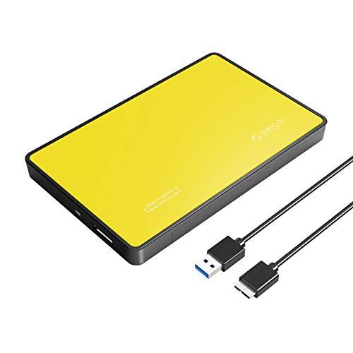 """ORICO 2,5\"""" Externes Festplattengehäuse, USB 3.0 Externes festplatten Gehäuse für SATA 2,5 Zoll Interne HDD und SSD von 7/9,5 mm mit USB3.0 Kabel,Werkzeugfreie Montage, Gelb"""