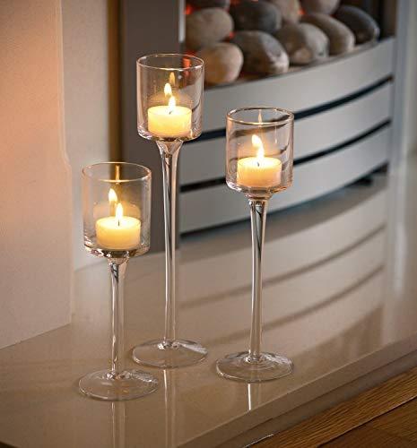 3 Set Elegantes Windlicht Kerzenhalter Teelichthalter Tischdekoration für Hochzeit
