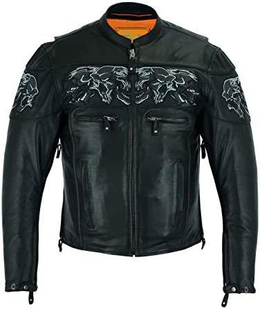 MEN S RIDING REFLECTIVE SKULLS CROSSOVER LEATHER JACKET VENTED THICK LEATHER 52 2XL product image