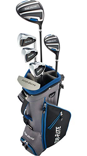 """Top Flite 2019 Kids' 9-Piece Complete Set – (Height 53"""" and Above)-Grey/Blue-Right Hand"""