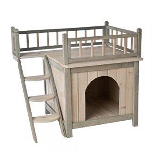 Casa de madera para perros o gatos, para usar en el interior del hogar, acabado en color gris y blanco Con una terraza y un dormitorio acogedor, ¡es un hogar para perros y gatos distinguidos!