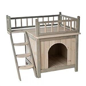 Casa de madera para perros o gatos, para usar en el interior del hogar, acabado en color gris y blanco Con una terraza y un dormitorio acogedor, ¡es un hogar para perros y gatos distinguidos! 11
