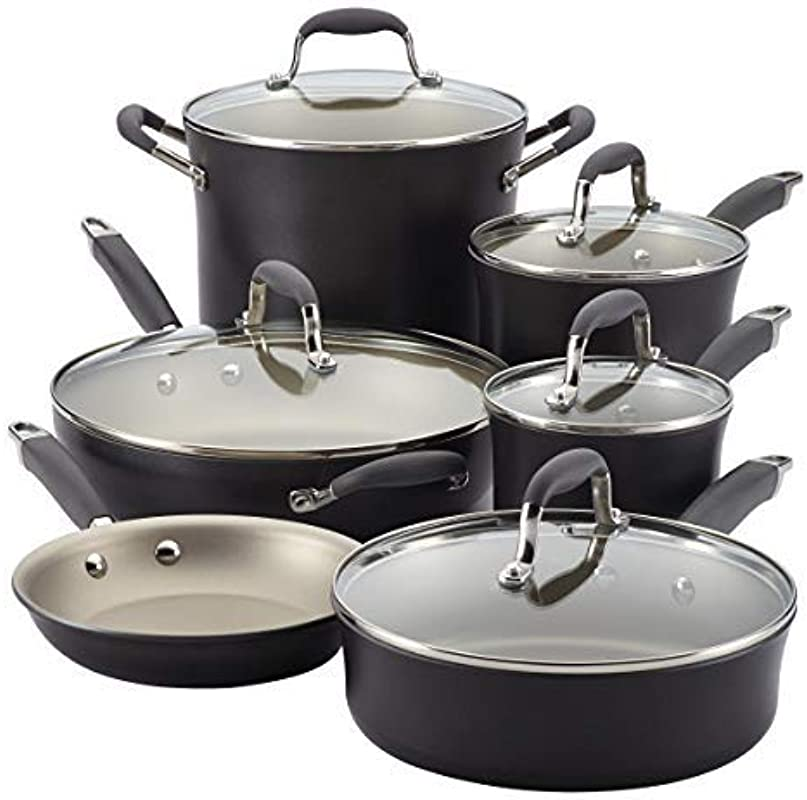 Anolon Advanced Pewter Hard Anodized Nonstick 11 Piece Cookware Set Pewter Grey Renewed