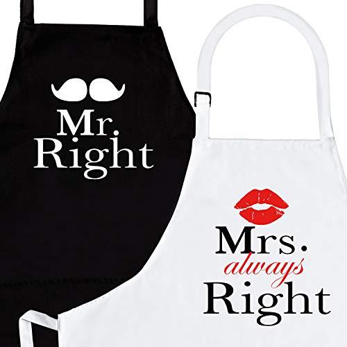 Nomsum Mr. Right & Mrs. Always Right (Sr. y Sra.)| Juego de Delantales de 2 Piezas | Regalo de Parejas de Aniversario, Boda, Compromiso, Despedida de Soltera