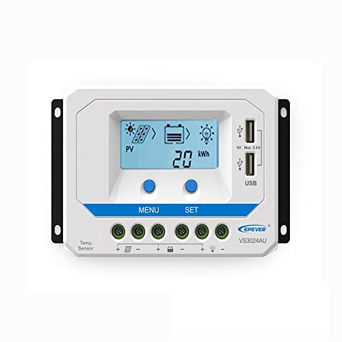 EPEVER PWM Laderegler 30A, VS3024AU Charge Controller,12V/24V Auto...