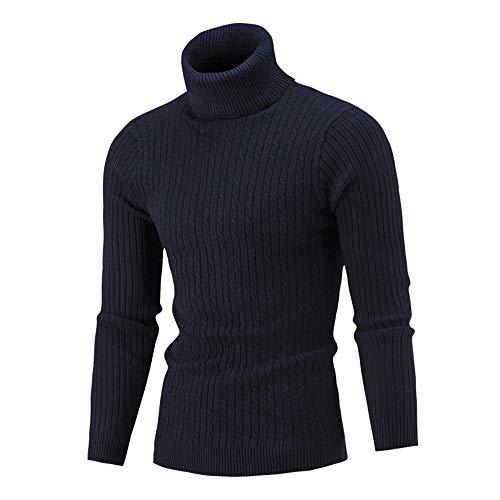 RYJShop Cálido y Hermoso suéter de Cuello Alto para Hombre, Camisa de Color Liso, Cabeza Delgada Simple, Cuello Alto, Jersey de Manga Larga de Punto de algodón