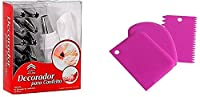 SWARG Combo 12 Piece Cake Decorating Set Frosting Icing Piping Bag Tips with Steel Nozzles, Reusable & Washable (3 pc Scrapper)