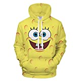 Xdai 3D Herren-Sweatshirt Hoodie Kapuzenpullover Atmungsaktives Weich Lange Ärmel Polyester 0.5KG Spongebob Squarepants XL