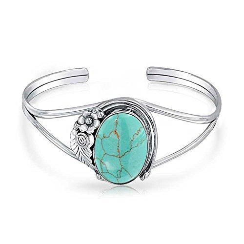 Südwestlicher Navajo Stil Oval Cabochon Stabilisiert Türkis Manschette Armband Für Frauen Blatt Motiv 925 Sterling Silber