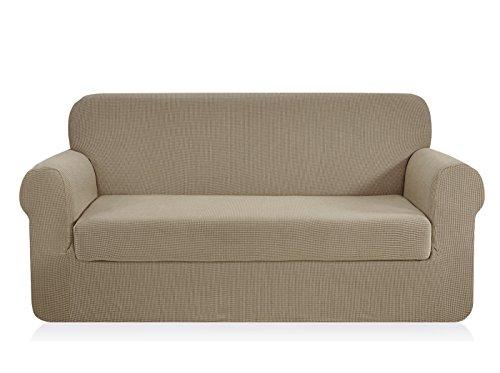 CHUN YI 2-Stück Jacquard Sofaüberwurf, Sofaüberzug, Sofahusse, Sofabezug für Sofa, Couch, Sessel, mehrere Farben (3-Sitzer, Sand)