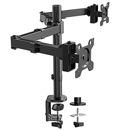 """ErGear Dual Monitor Desk Mount Stand, 26.4lbs Heavy-Duty Adjustable Monitor Arms, 17-32"""" Monitor Stand for 2 LCD Screens, 75mm/100mm VESA, Black - EGCM7"""