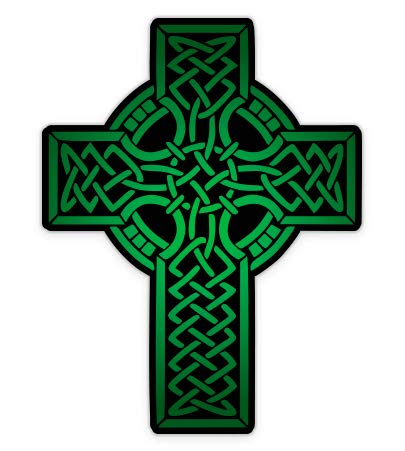 GT Graphics Green Celtic Cross - 3' Vinyl Sticker - for Car Laptop I-Pad Phone Helmet Hard Hat - Waterproof Decal