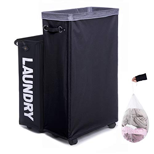 Laundry Hamper, Caroeas Rolling Laundry Basket Collapsible Tall Slim...