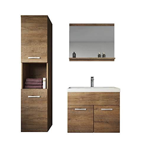 Badezimmer Badmöbel Set Montreal 60 cm Waschbecken Lefkas - Unterschrank Hochschrank Waschtisch Möbel