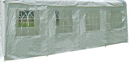 DEGAMO Seitenplane für Zelt 8x4 Meter, PVC Weiss mit Fenstern