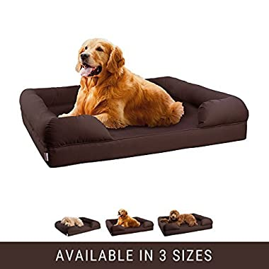 Petlo Orthopedic Pet Sofa Bed - Dog, Cat or Puppy Memory Foam Mattress Comfortable Couch For Pets With Removable Washable Cover (Large - 36  x 28  x 9 , Chocolate Brown)