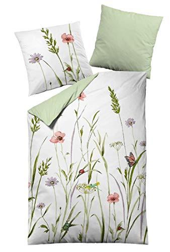Dormisette Mako-Satin Bettwäsche Sommerwiese 1 Bettbezug 135 x 200 cm + 1 Kissenbezug 80 x 80 cm