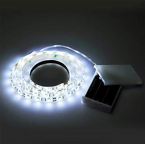 Vetrineinrete® Striscia led a batteria adesiva 3 metri luce bianca fredda 6500k strip ritagliabile bobina 90 led illuminazione casa negozio 8655 A20