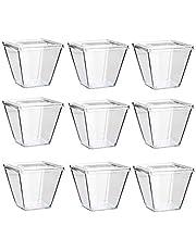 Amasawa 30 Piezas 270 ML Copas de Postre Desechables Plástico Transparente Reutilizable con Tapa para Buffets Fiesta Catering (Cuadrados)