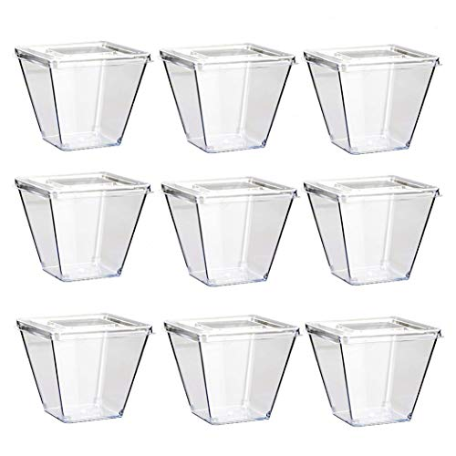 30 Pieces 270 ML Disposable Dessert Cups Plastic Transparent Reusable with Lids for Buffets Desserts Party Catering (Square)