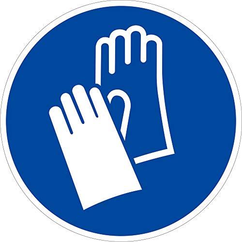 Aufkleber Handschutz benutzen gemäß ASR A1.3/ DIN 7010, Folie selbstklebend 10cm Ø (Handschuhe, Schutzkleidung, Gebotsschild) praxisbewährt, wetterfest