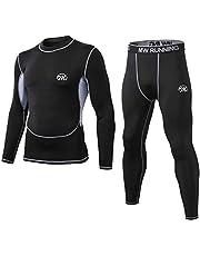 MeetHoo Termiska underkläder herr, funktionella underkläder set funktionslinne andningsbara termounderkläder termounderkläder baslager cykling löpning