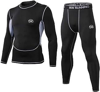 MeetHoo Conjuntos Térmicos para Hombre, Set de Ropa Térmica Camiseta Pantalones Interior Función Deporte Running Ciclismo Esquí Fitness Invierno