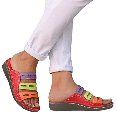 Slip On Wedge Sandals for Women, Comfy Open Toe Slide Sandals Hollow Slippers for Summer Thick Bottom Outdoor Shoes Red