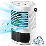 PREUP Aire Acondicionado Portátil, 3 en 1 Mini Enfriador de Aire Silencioso Ventilador Humidificador de 400ML , 3 Velocidades Ajustables, 7 Colors LED para Hogar, Oficina, Viaje
