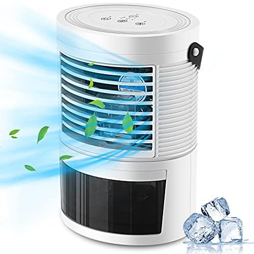 PREUP Aire Acondicionado Portátil, 3 en 1 Mini Enfriador de Aire Silencioso Ventilador Humidificador de 400ML , 3 Velocidades Ajustables, 7 Colors LED para Coche, Hogar, Oficina