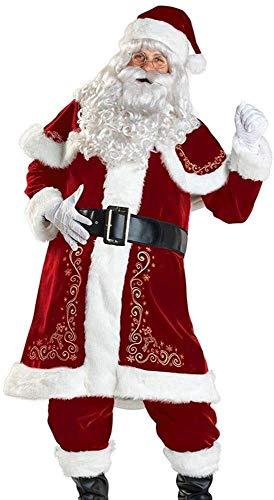 BHSHOP Mens Santa Claus Suit Professionele Santa Pak Christmas Grotto Fancy Dress Kostuum met baard en broek volwassen grootte BHSHOP (Size : Medium)