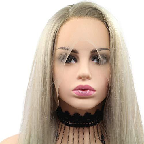 Perruque synthétique blonde ombrée avec dentelle sur le côté - Pour femme - Cheveux longs et doux - 55,9 cm
