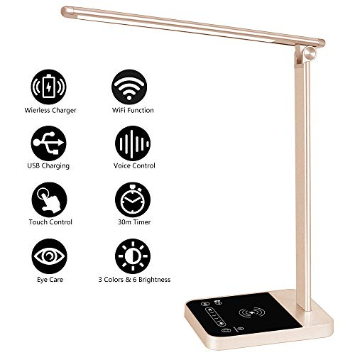 LED Desk Lamp with Fast Wireless Charger WiFi Desk Light 6 Brightness Levels 3 Lighting Modes Touch Control USB Port Timer Memory Function Aasonida Office Table Lamp Works with Alexa Google Home