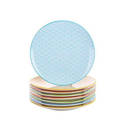 Vancasso Natsuki 8 TLG. Set Porzellan Dessertteller, Kuchenteller, Durchmesser 21,5 cm Flachteller für Frühstück
