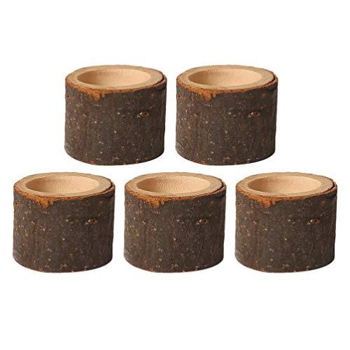 PRETYZOOM 5 Stück Holz Kerzenhalter Dekorativer Teelichthalter Baumstumpf Kerzenständer Vintage Serviettenringe Rustikale Tischdeko Sukkulenten Blumentopf für Hochzeit Landhaus Ornament