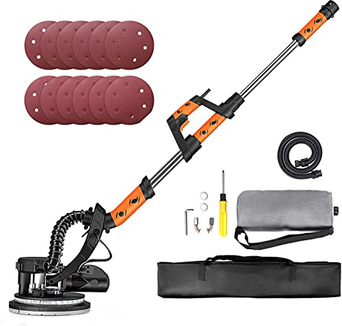 Automatic Vacuum Efficient 95% 800W Drywall Sander Long Handle with Dust Absorption Bag Electric Variable Speed 500-1800RPM 225mm Sanding Discs 12pcs with LED Light and Carry Bag