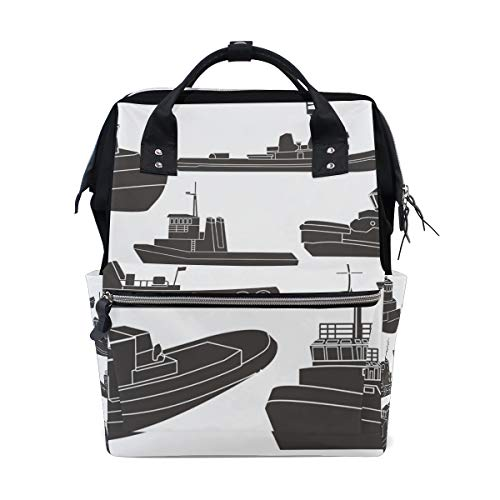 Tugboat Clipart Mochila Escolar de Gran Capacidad, Color Blanco y Negro, Bolsa de Mano para portátil, Casual, para Viajes, para Mujeres, Hombres, Adultos, Adolescentes, niños