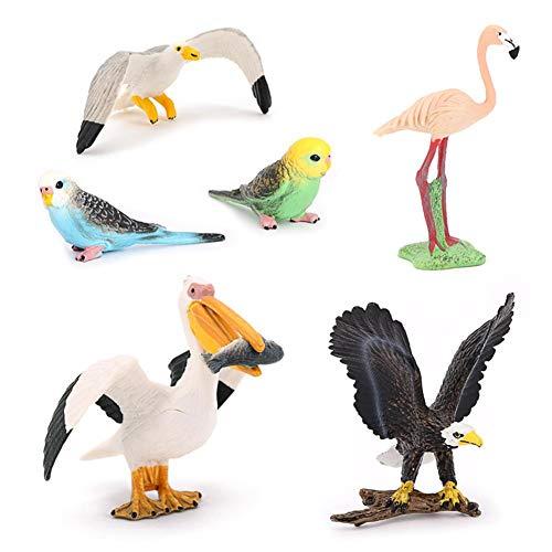 courti 6 Piezas Figuras De Pájaros Juguete Modelo Realista De Aves Figuras De Pájaros Vivos De Plástico Decoracion De Escritorio Regalo De Primeros De La Torta para Niños, Incluye Flamencos Gaviotas