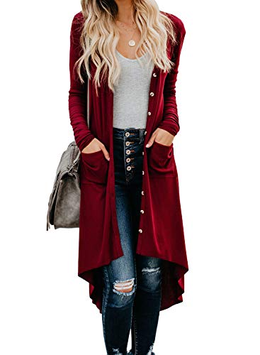 Sidefeel Women Long Sleeve Solid Color Button Down Knit Cardigans Coat XL Red